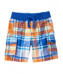 crazy8 wht/orange/blue check cargo shorts Little Boy