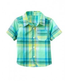 crazy8 green (mint) check shirt   Little Boy
