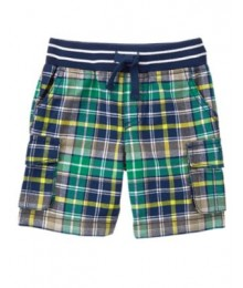 crazy8 green check plaid cargo shorts Little Boy