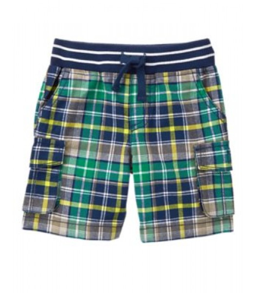crazy8 green check plaid cargo shorts