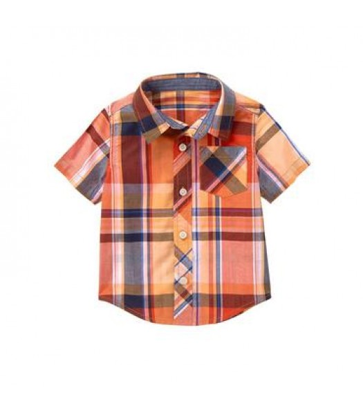 gymboree orange cross pocke plaid s/s shirt