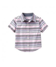 gymboree white/grey/pink s/s stripe shirt  Baby Boy