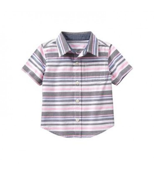 gymboree white/grey/pink s/s stripe shirt  Little Boy