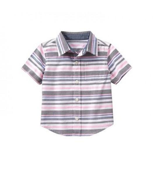 gymboree white/grey/pink s/s stripe shirt
