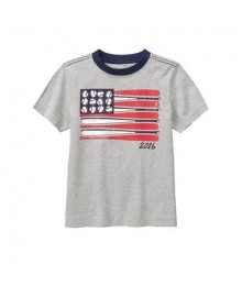 gymboree grey baseball us flag tee