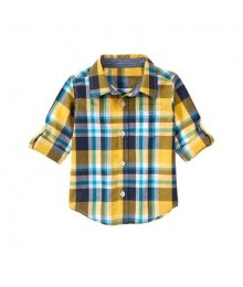 gymboree green/grey/blue check shirt Little Boy