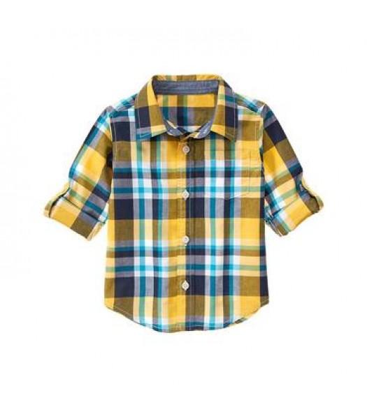 gymboree green/grey/blue check shirt Little Boy