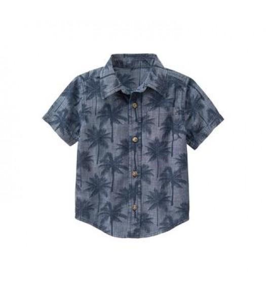 gymboree grey palm print shirt  Little Boy