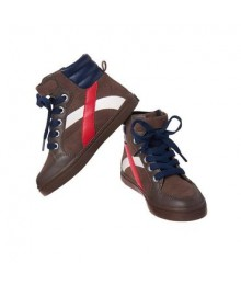 crazy 8 brown wt red/white stripe high top boys sneakers