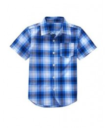 crazy 8 light blue/dark blue check s/s shirt  Little Boy