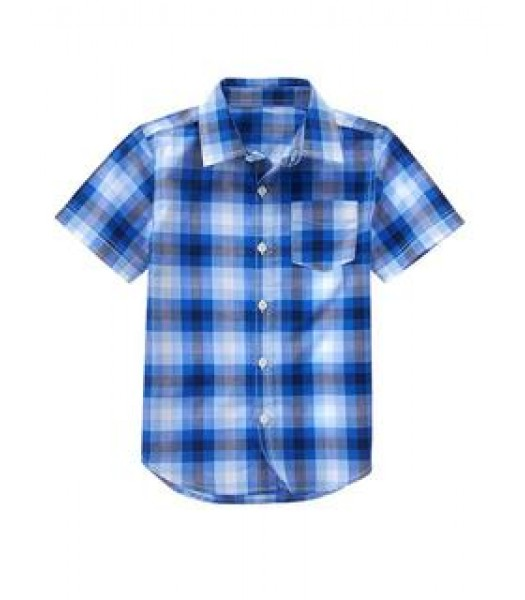 crazy 8 light blue/dark blue check s/s shirt