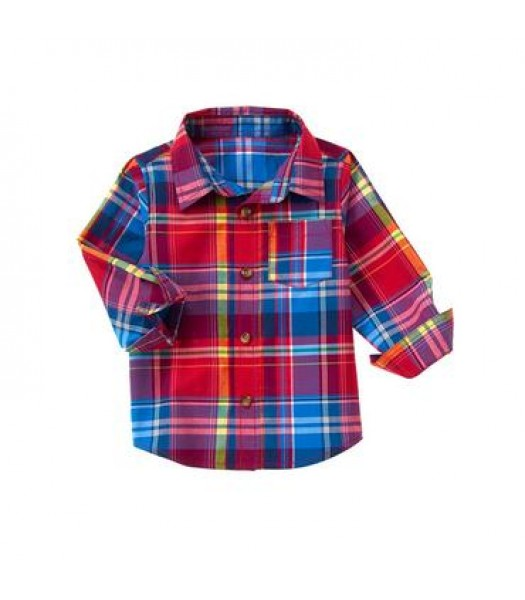 crazy 8 red multi plaid l/s shirt