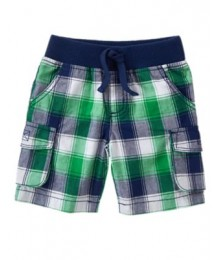 crazy8 green plaid cargo shorts Little Boy