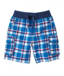 crazy8 blue/wht plaid check cargo shorts Little Boy
