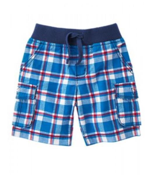 crazy8 blue/wht plaid check cargo shorts