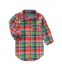 crazy8 red multi check stripe shirt