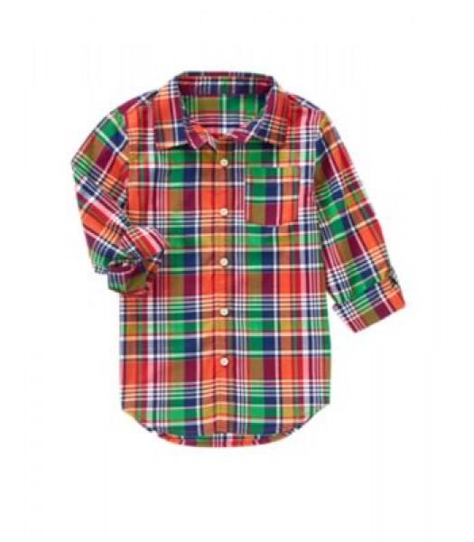 crazy8 red multi check stripe shirt