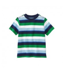 gymboree green/white/blue multi striped tee
