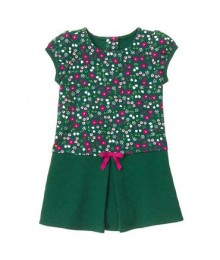 gymboree green floral/petal pleat dress