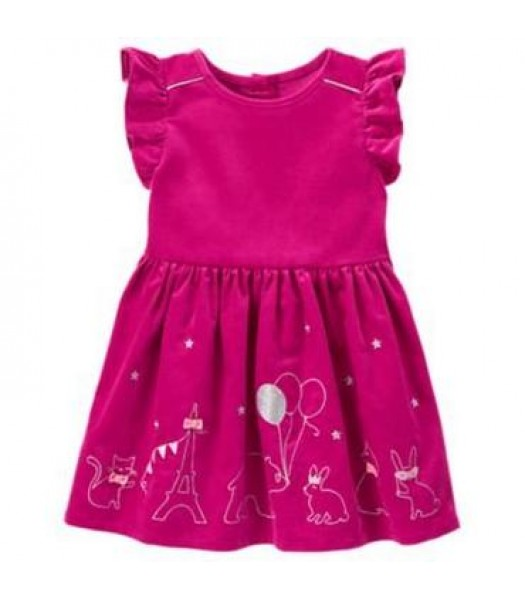 gymboree pink silber embro animal party dress  Little Girl