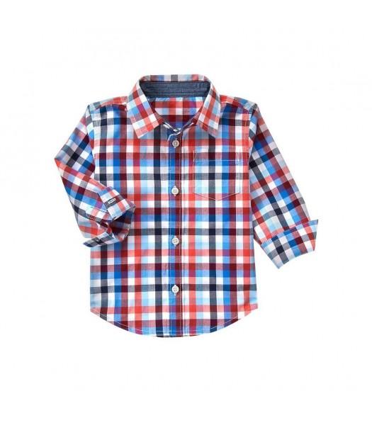 gymboree orange plaid l/s shirt