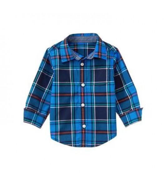 gymboree blue multi plaid check l/s shirt