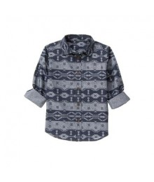 gymboree grey/navy geo zigzag print shirt