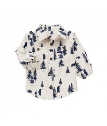 gymboree white/ivory tree print shirt  Little Boy