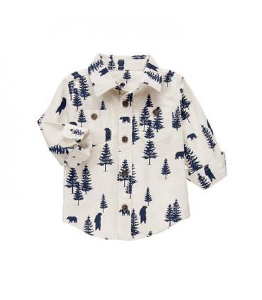 gymboree white/ivory tree print shirt  Little Boy