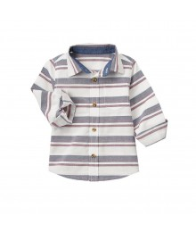 crazy 8 white/greyburgundy l/s shirt  Little Boy