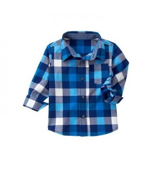 crazy 8 blue/white/grey plaid l/s shirt