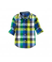 gymboree green/grey blue check shirt