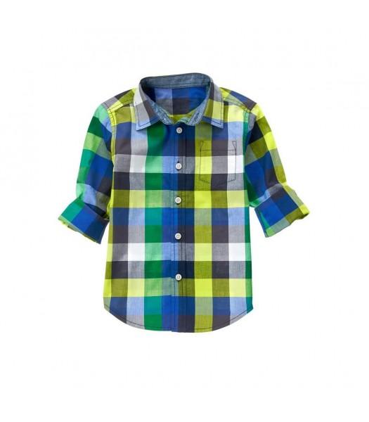 gymboree green/grey blue check shirt Little Boy