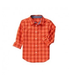 gymboree orange wt grey plaid l/s shirt