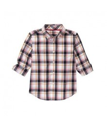 gymboree white/grey/brown plaid l/s shirt