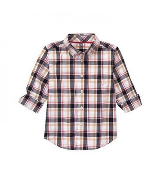 gymboree white/grey/brown plaid l/s shirt