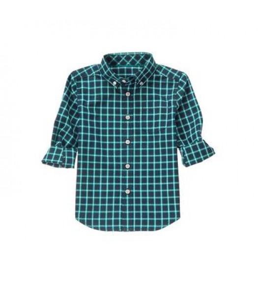 gymboree green/black plaid l/s shirt