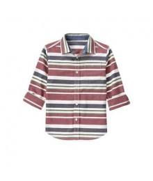 gymboree white/grey/burgundy l/s stripe shirt  Little Boy