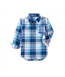 crazy 8 white/light blue/grey check shirt  Little Boy