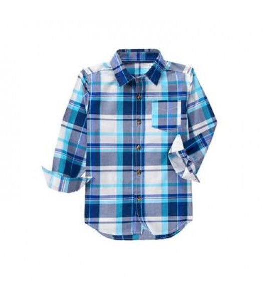 crazy 8 white/light blue/grey check shirt