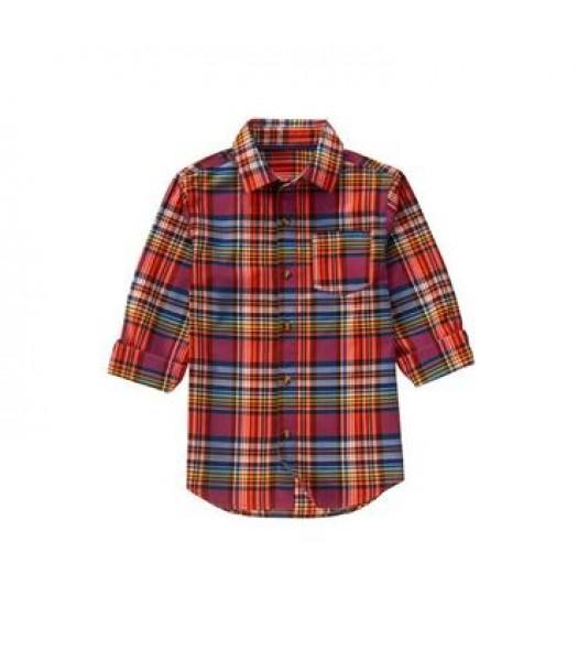 crazy 8 red multi plaid l/s shirt