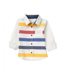 crazy 8 ivory multicolored striped l/s shirt