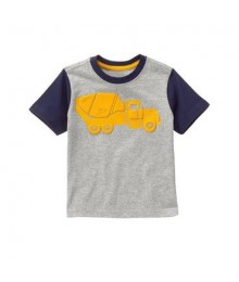 gymboree grey yellow cement truck tee