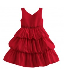 Princess faith red sleeveless tiered baby dress