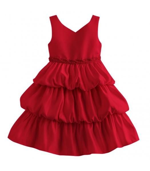 Princess faith red sleeveless tiered baby dress