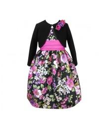 jayne copeland purple multi floral print 2 pcs rosette shrug & shantung dress