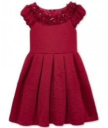 Bonnie jean burgundy/red quilted-rose floral-trim dress