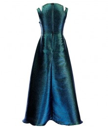 Tween Diva Blue/Green Metallic Iridescent Two Tone Split Shoulder Walk Through Dress