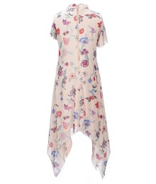 Gb Girls Blush Floral Print Ruffle Sharkbite Dress