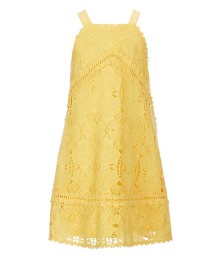 Gb Girls Yellow Lace Halter Neck  Dress